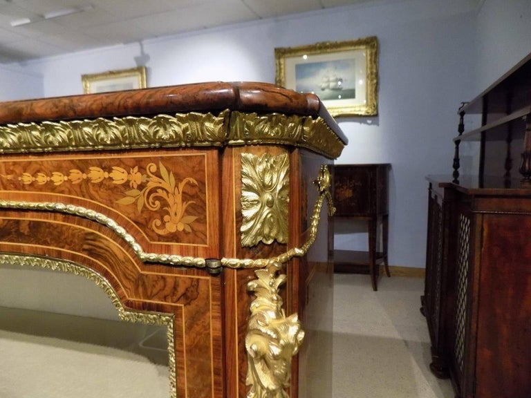 Superb Pair of Victorian Period Burr Walnut and Marquetry Inlaid Pier Cabinets For Sale 1