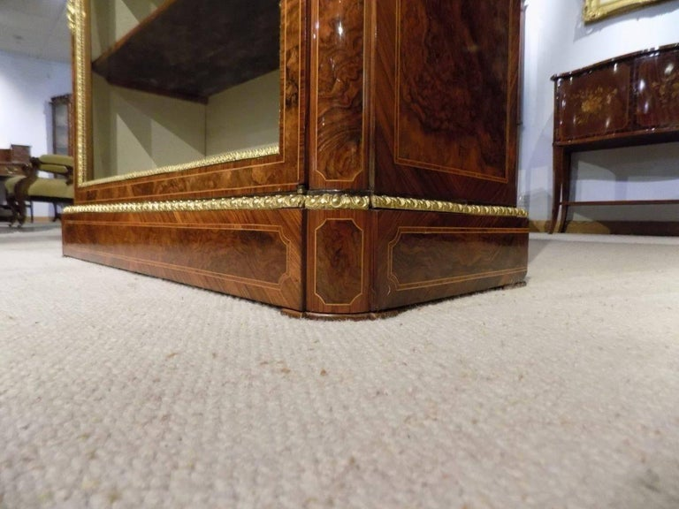 Superb Pair of Victorian Period Burr Walnut and Marquetry Inlaid Pier Cabinets For Sale 3