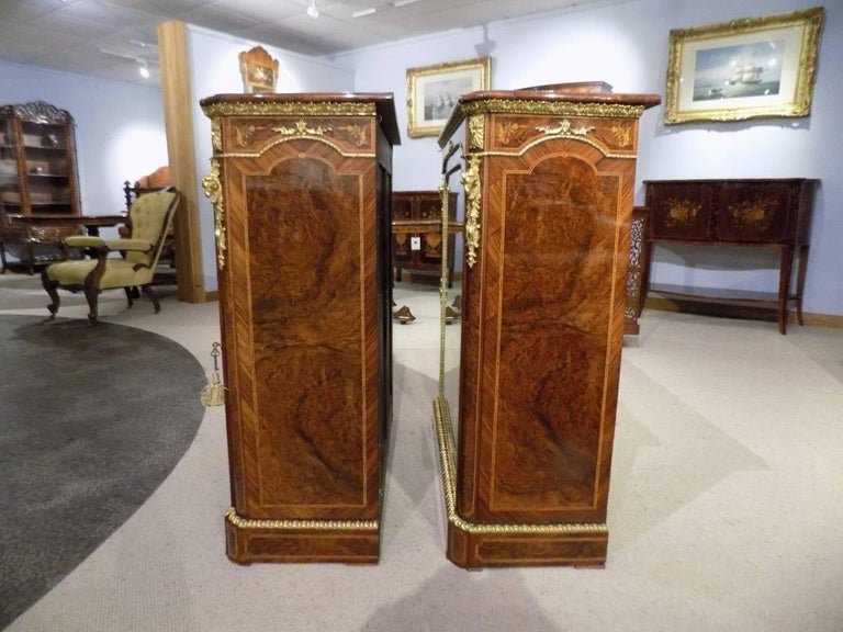 Superb Pair of Victorian Period Burr Walnut and Marquetry Inlaid Pier Cabinets For Sale 4