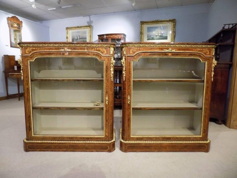 Superb Pair of Victorian Period Burr Walnut and Marquetry Inlaid Pier Cabinets For Sale 5