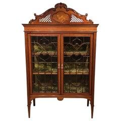 Superb Quality Mahogany Inlaid Edwardian Period China Cabinet