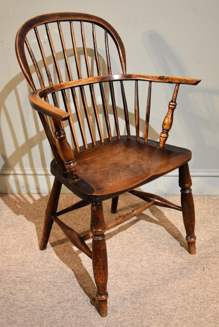 English A Superb Set of Four Ash and Elm Windsor Chairs For Sale