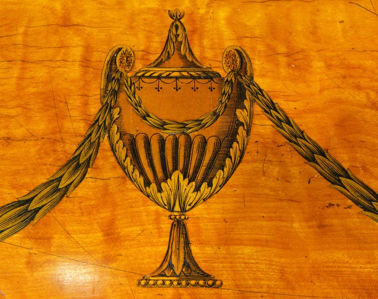 Superior English Adam Style Three-Tier Inlaid Tiger Maple Server or Sideboard For Sale 5
