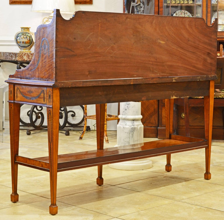 Veneer Superior English Adam Style Three-Tier Inlaid Tiger Maple Server or Sideboard For Sale