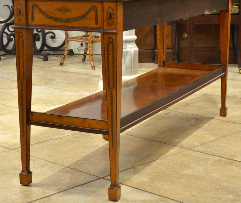 19th Century Superior English Adam Style Three-Tier Inlaid Tiger Maple Server or Sideboard For Sale