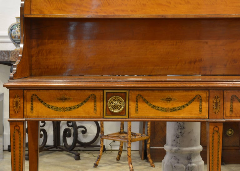 Bronze Superior English Adam Style Three-Tier Inlaid Tiger Maple Server or Sideboard For Sale