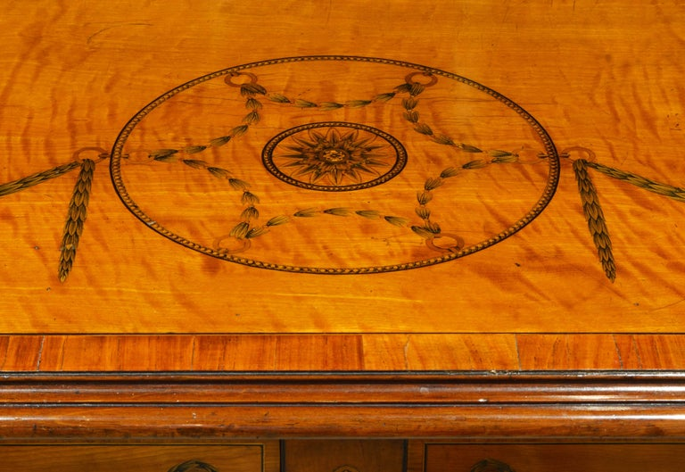 Superior English Adam Style Three-Tier Inlaid Tiger Maple Server or Sideboard For Sale 3