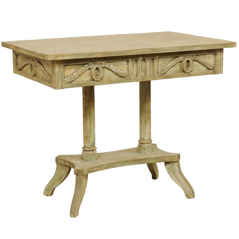 Swedish 19th Century Neoclassical Painted and Carved Wood Lindome Style Table