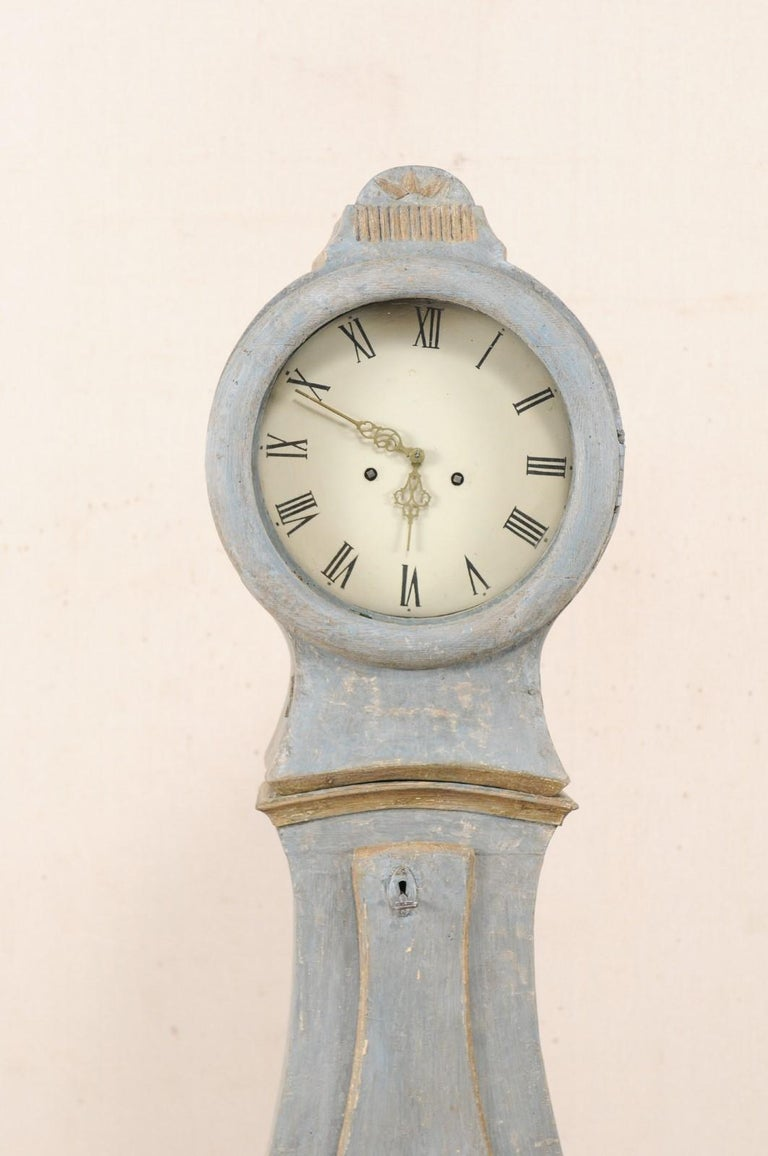Swedish 19th Century Painted Grandfather Clock with Original Metal Face & Hands For Sale 1