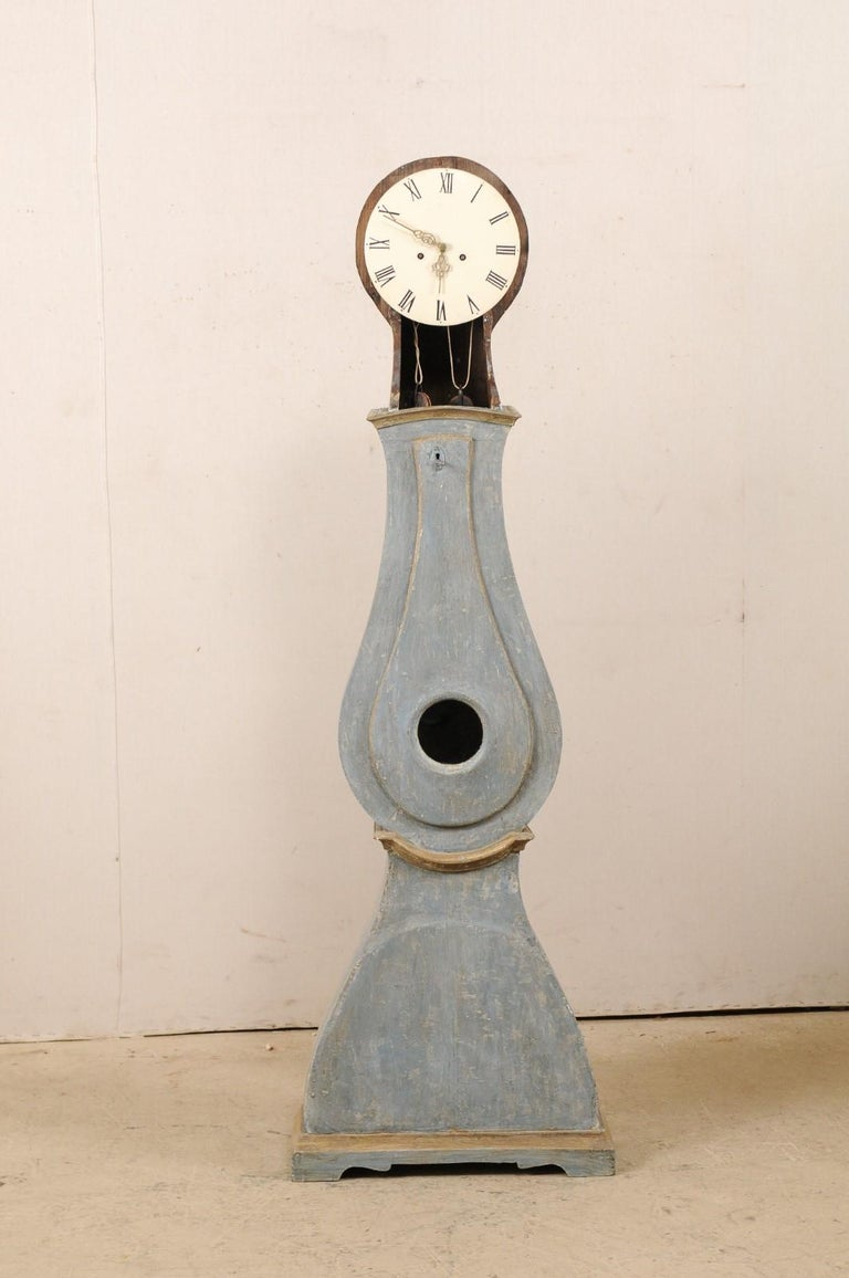 Swedish 19th Century Painted Grandfather Clock with Original Metal Face & Hands For Sale 2