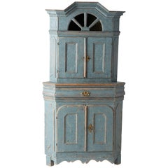 Swedish Baroque Period Blue Painted Corner Cupboard with Original Glass