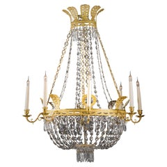 Swedish Empire Style Cut-Crystal Tent and Basket Chandelier