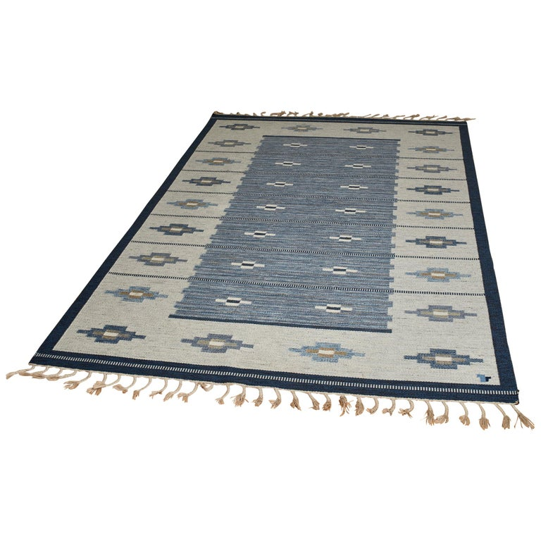 Swedish Flat-Weave Wool Carpet, circa 1950-1960 For Sale