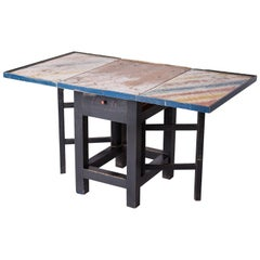 Swedish Folk Art Drop-Leaf Table with Colorful Original Paint