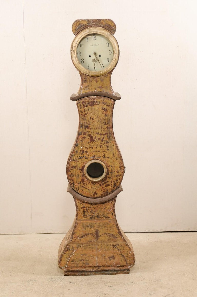 19th Century 19th C. Swedish Grandfather Clock with it's Original Face & Warm Color Palette For Sale