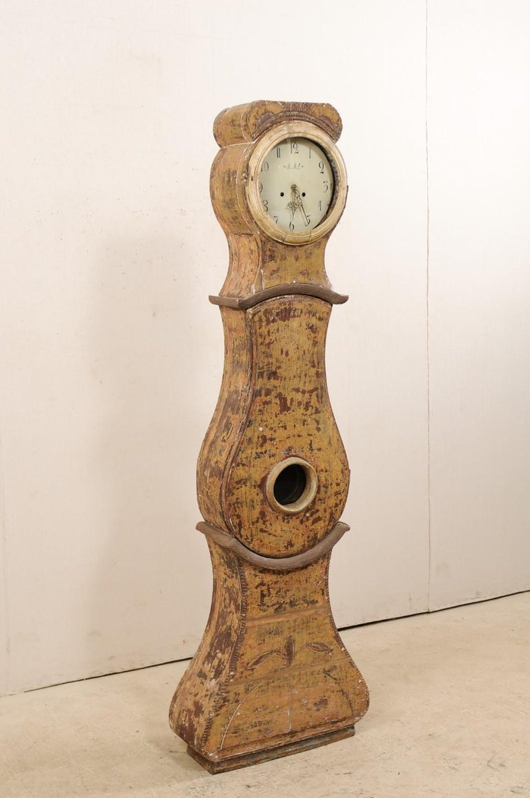Glass 19th C. Swedish Grandfather Clock with it's Original Face & Warm Color Palette For Sale