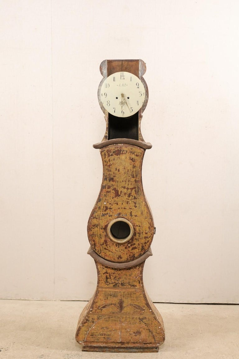 19th C. Swedish Grandfather Clock with it's Original Face & Warm Color Palette For Sale 4