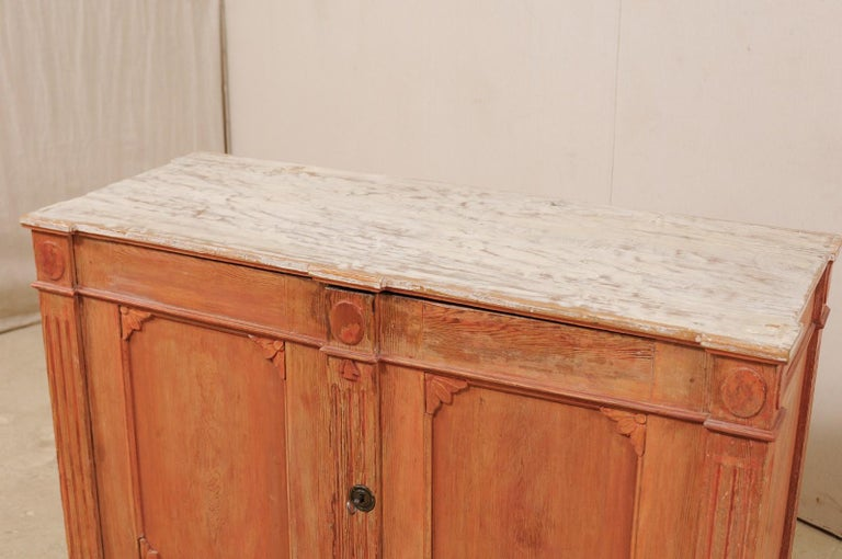 Wood Swedish Gustavian Cabinet with Original Color, Turn of 18th-19th Century For Sale