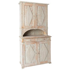 Swedish Gustavian Period Cupboard in Original Cream Paint, Stockholm, circa 1800