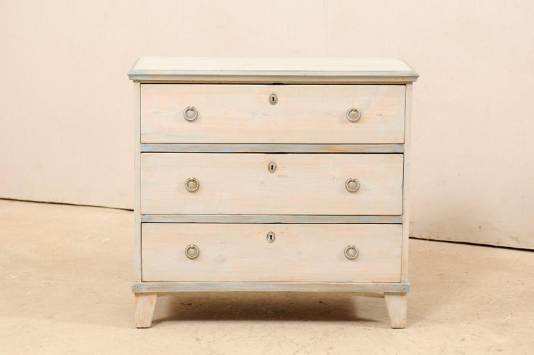 Carved Swedish Gustavian Style Painted Wood Chest in Pale Blue Hues, Mid-20th Century For Sale