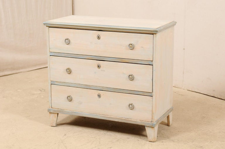 Swedish Gustavian Style Painted Wood Chest in Pale Blue Hues, Mid-20th Century In Good Condition For Sale In Atlanta, GA