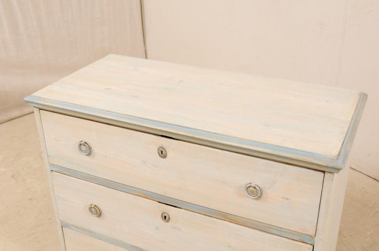 Swedish Gustavian Style Painted Wood Chest in Pale Blue Hues, Mid-20th Century For Sale 1