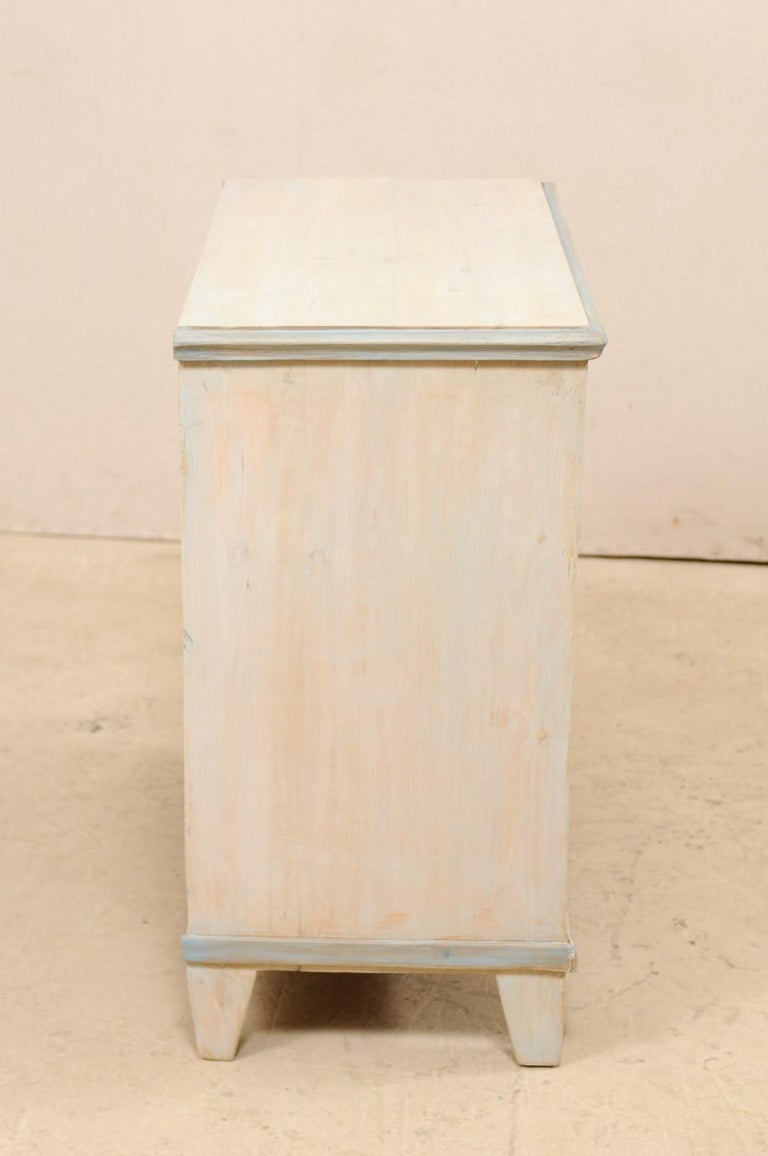 Swedish Gustavian Style Painted Wood Chest in Pale Blue Hues, Mid-20th Century For Sale 3