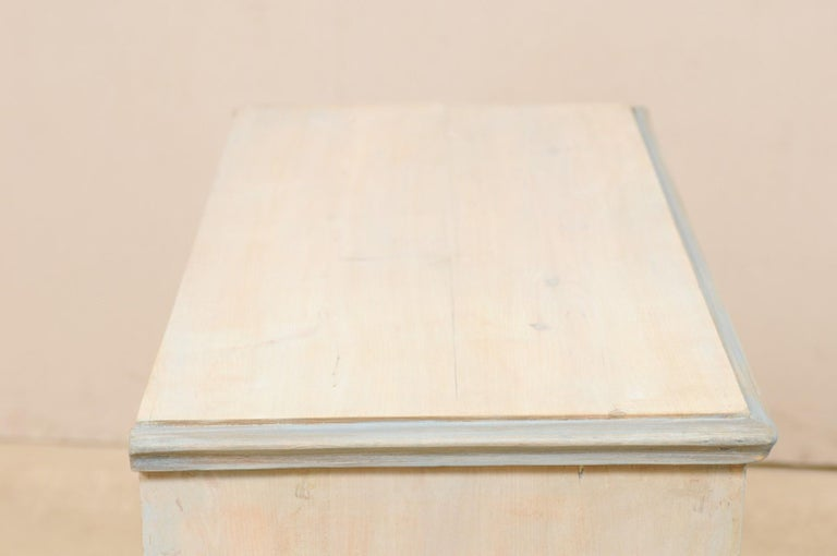 Swedish Gustavian Style Painted Wood Chest in Pale Blue Hues, Mid-20th Century For Sale 4