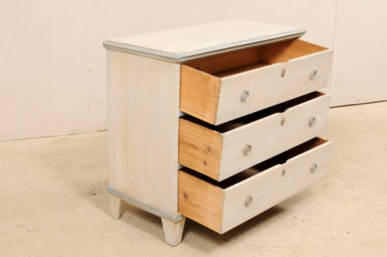 Swedish Gustavian Style Painted Wood Chest in Pale Blue Hues, Mid-20th Century For Sale 5