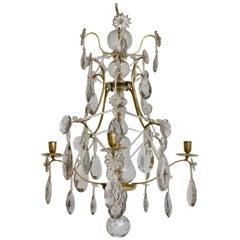 Swedish Louis XVI Brass and Cut-Glass Chandelier