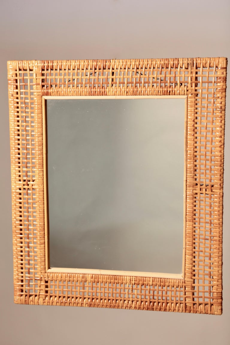 A rare Scandinavian Modern mirror, manufactured in rattan and bamboo, in very nice original vintage condition, Sweden, 1940s.