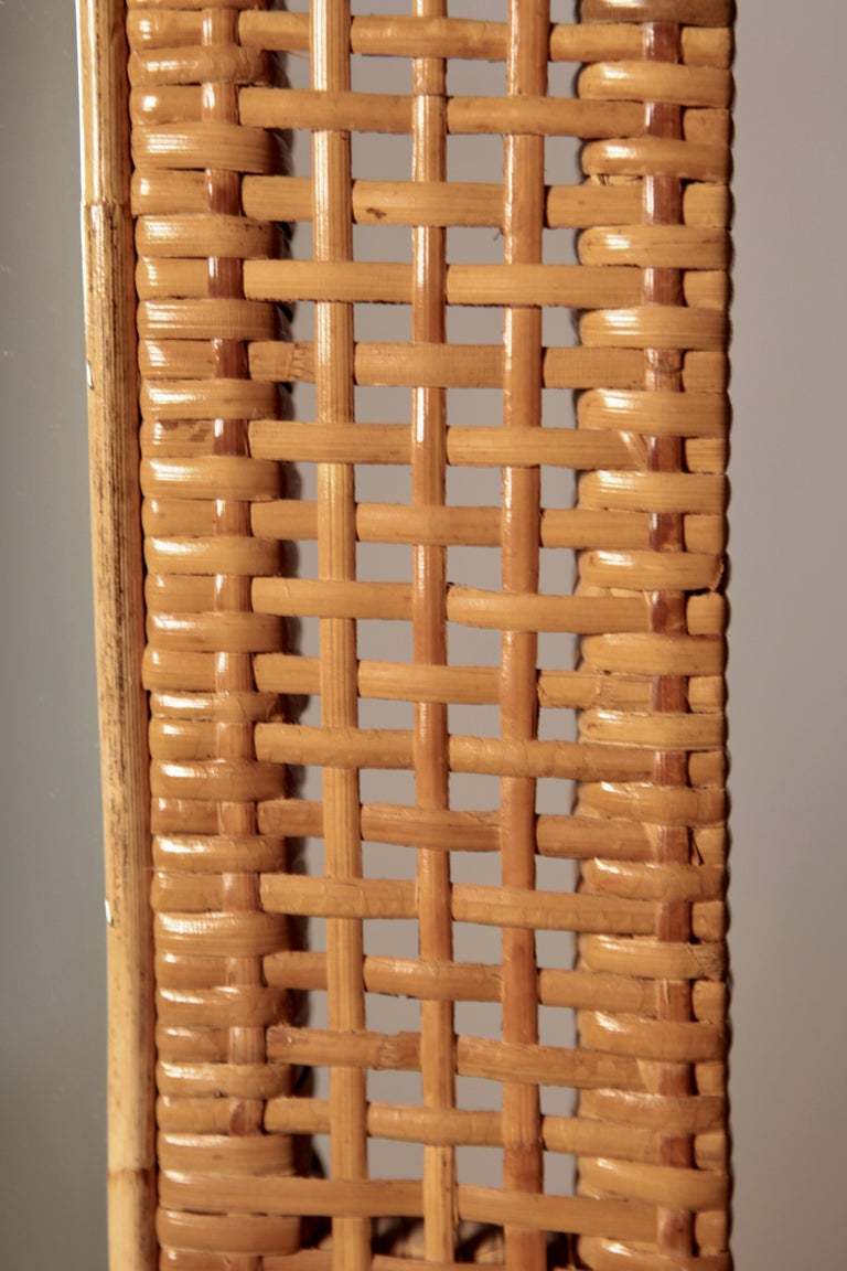 Scandinavian Modern Swedish Modern Mirror in Rattan and Bamboo, Sweden, 1940s For Sale