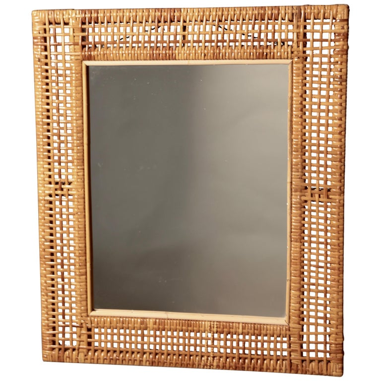 Swedish Modern Mirror in Rattan and Bamboo, Sweden, 1940s For Sale