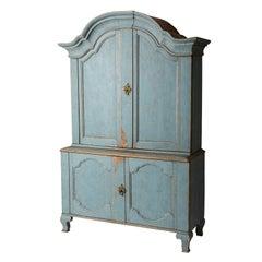Swedish Rococo Period Blue Painted Three-Part Cupboard, circa 1760