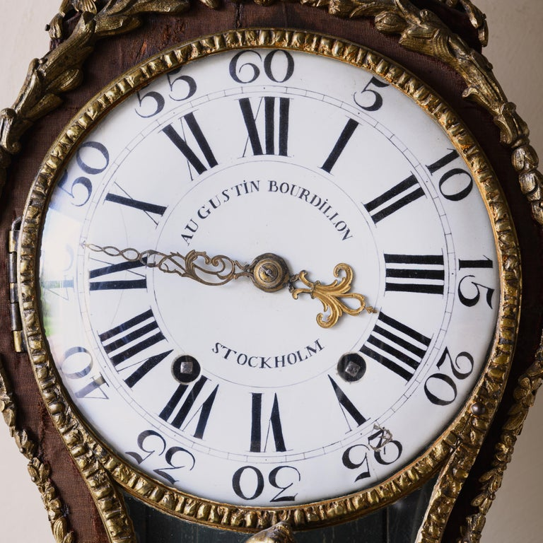 Swedish Rococo Table Clock Signed by Augustin Bourdillon For Sale 4