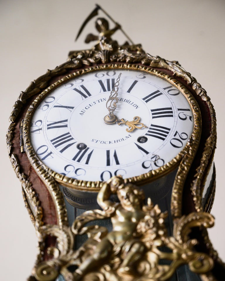 Swedish Rococo Table Clock Signed by Augustin Bourdillon For Sale 6