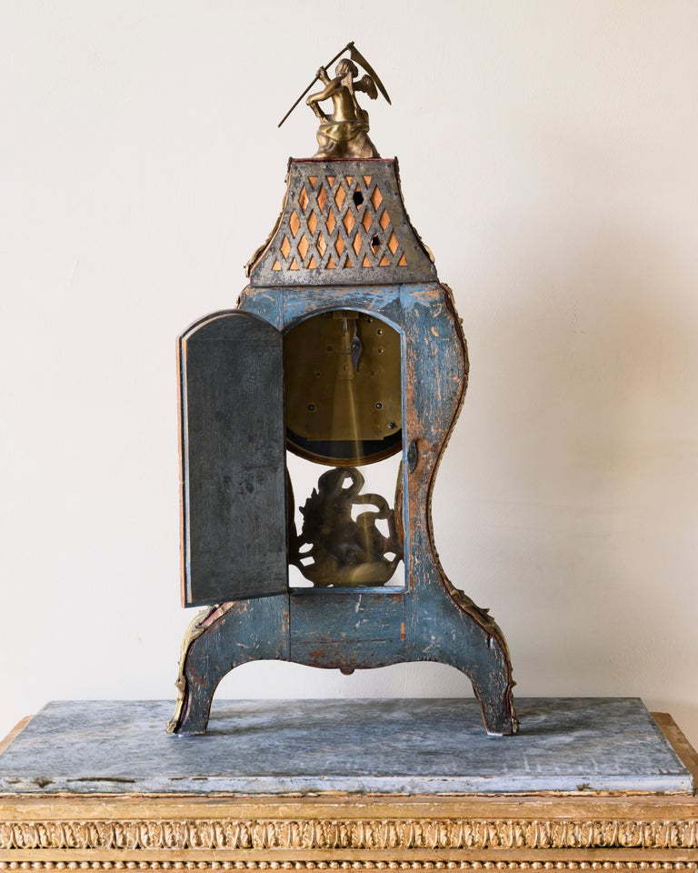 European Swedish Rococo Table Clock Signed by Augustin Bourdillon For Sale
