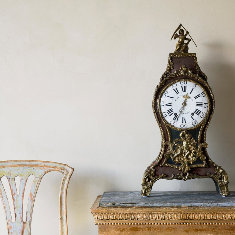 18th Century and Earlier Swedish Rococo Table Clock Signed by Augustin Bourdillon For Sale