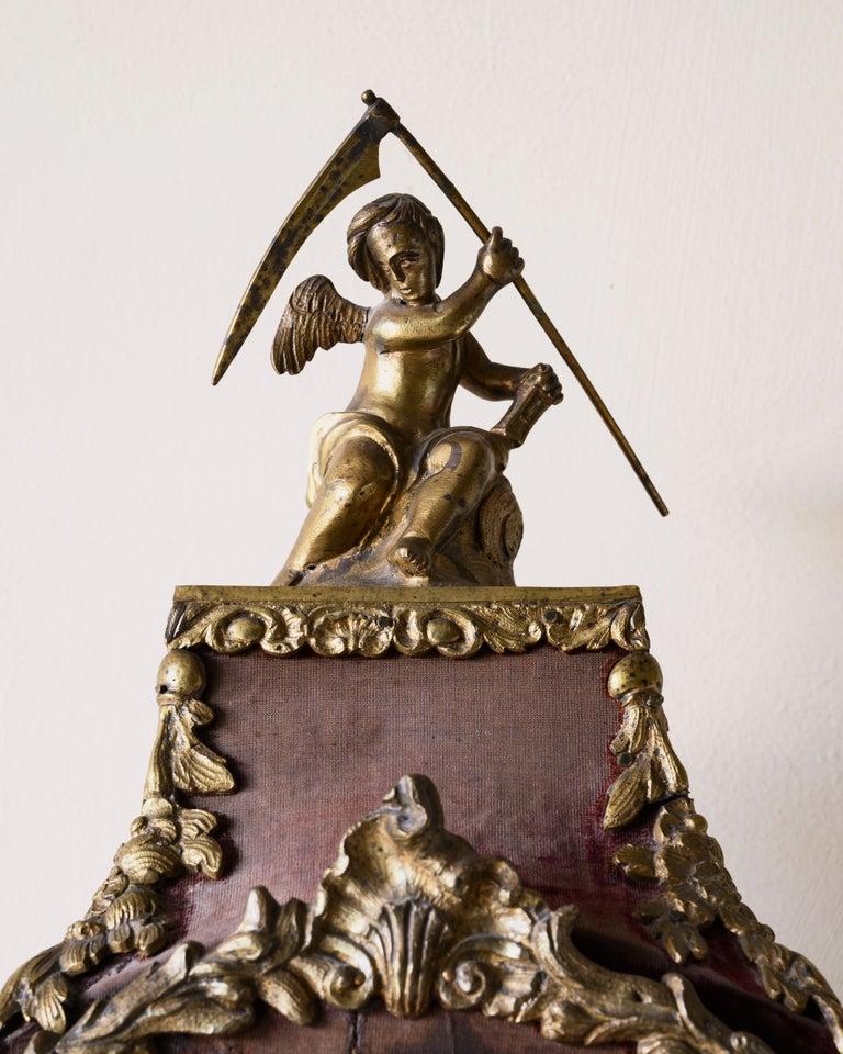 Bronze Swedish Rococo Table Clock Signed by Augustin Bourdillon For Sale