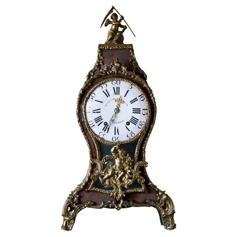 Swedish Rococo Table Clock Signed by Augustin Bourdillon For Sale
