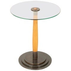 Swedish Glass, Birch and Steel Side Table