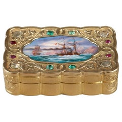 Swiss Enamelled Gold Snuff-Box for the Oriental Market, circa 1820-1830