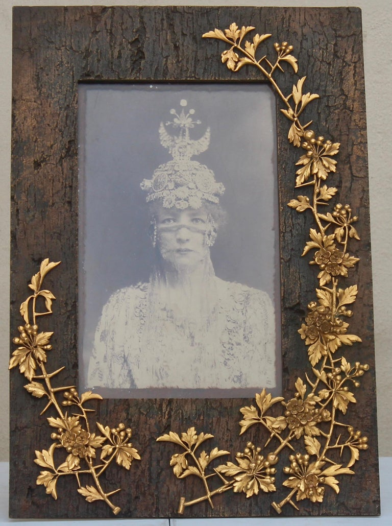 An amazing Museum quality symbolist Art Nouveau picture frame Patinated bronze and chiseled ormolu Simulating berries branches and flowers running on a tree trunk With a Sarah Bernhardt original picture on cupboard Signed Millet Paris rue de