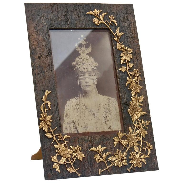 Symbolist Art Nouveau Picture Frame and Sarah Bernhardt Photo, circa 1900 For Sale