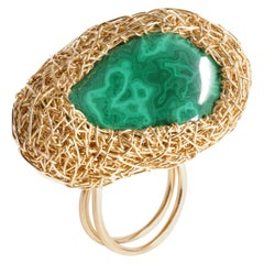 A-symmetrical Malachite Statement Cocktail Ring in Yellow Gold by Sheila Westera