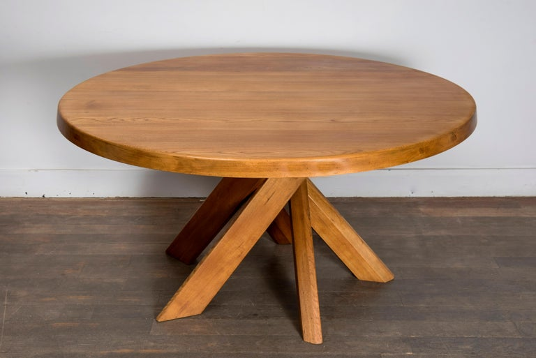 Mid-Century Modern T21D Elmwood Dining Table by Pierre Chapo For Sale