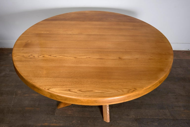 French T21D Elmwood Dining Table by Pierre Chapo For Sale