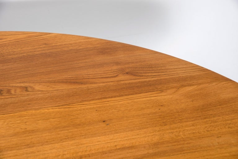 Mid-20th Century T21D Elmwood Dining Table by Pierre Chapo For Sale