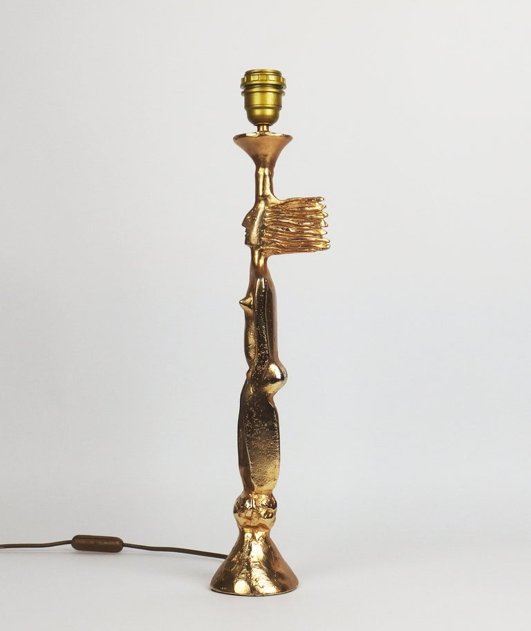 A gilt metal sculptural table lamp created by Pierre Casenove and edited by Fondica in the 1980s. Signed.