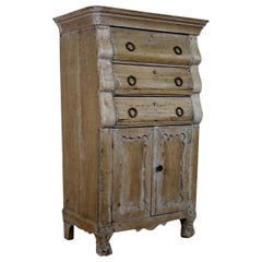 Tall 18th Century Dutch Bleached Oak Secrétaire Cabinet